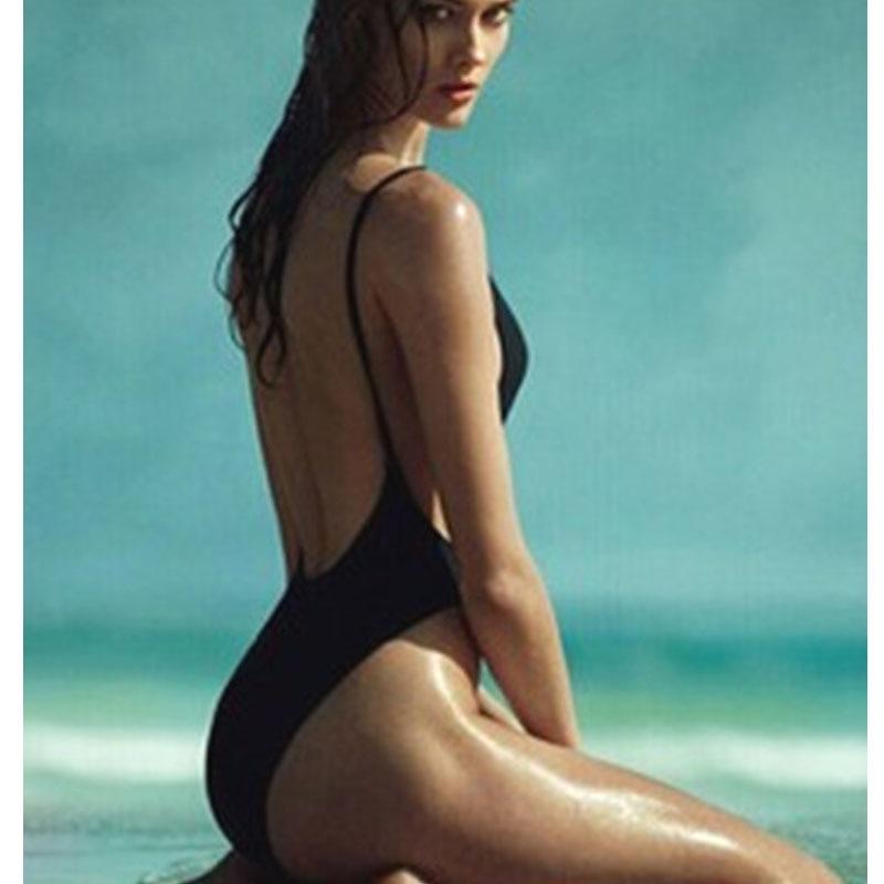 Forró stílusú Body Sexy High Cut 1 egyrészes fürdőruha Fekete hát nélküli fürdőruha Női fürdőruha párnázott fürdőruhákkal