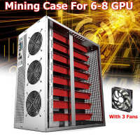 Mining Frame Rig Graphics Case For 6 8GPU Can Hold 2 Power With 3 Led Fans