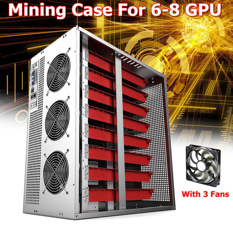 Mining Frame Rig Graphics Case For 6/8GPU Can hold 2 power With 3 Led fans For Ethereum BTC Miner Machine