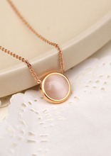 YUN RUO Opal Cat Eyes Pendant Choker Necklace Fine Couple Jewelry Titanium Rose Gold Color Valentine Day Gift Free Shipping