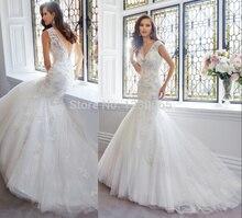 free shipping v-neck romantic Bridal boda 2016 casamento crystal beading vestido de noiva sexy lace mermaid wedding dress bride