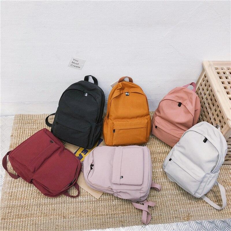 DCIMOR Nylon waterproof women backpack High quality solid color shoulder bag schoolbag for Teenage girls 2019 Travel backpack