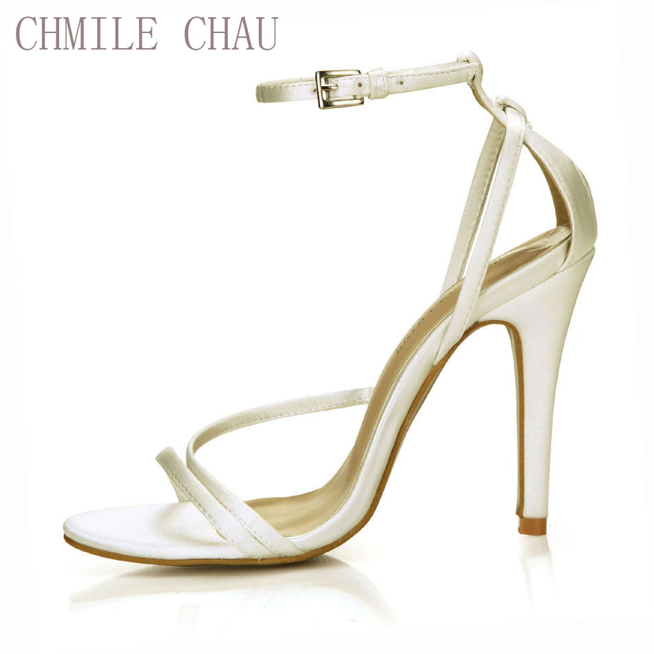 CHMILE CHAU Ivory Satin Sexy Wedding Bridal Party Women Shoe Stiletto High Heel Ankle Strap Buckle Sandals Plus Sizes 10 5186-9d free shipping ep2107 ivory women s open toe stiletto high heel satin flowers pearls bridal wedding sandals