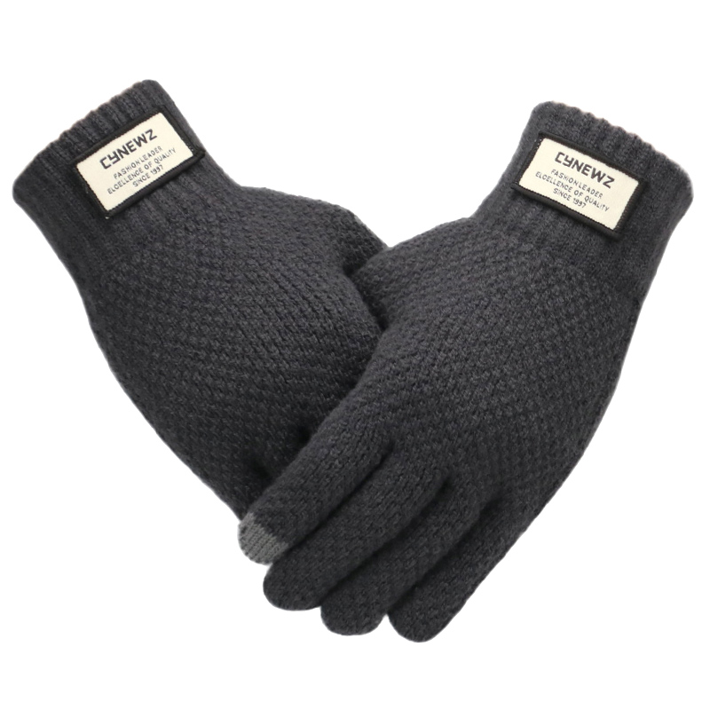 Men Knitted Gloves Winter Touch Screen High Quality Male Thicken Warm Wool Cashmere Solid Gloves Men