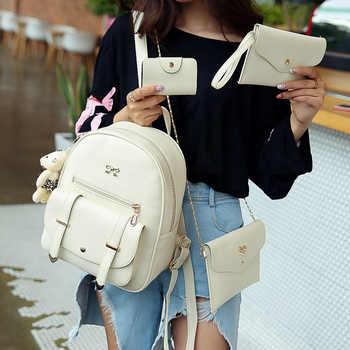 Fashion Bear Backpack Women Bag Big Bow School Bags For Girls 4 Pcs Backpack Female High Quality Leather Backpack Shoulder Bags