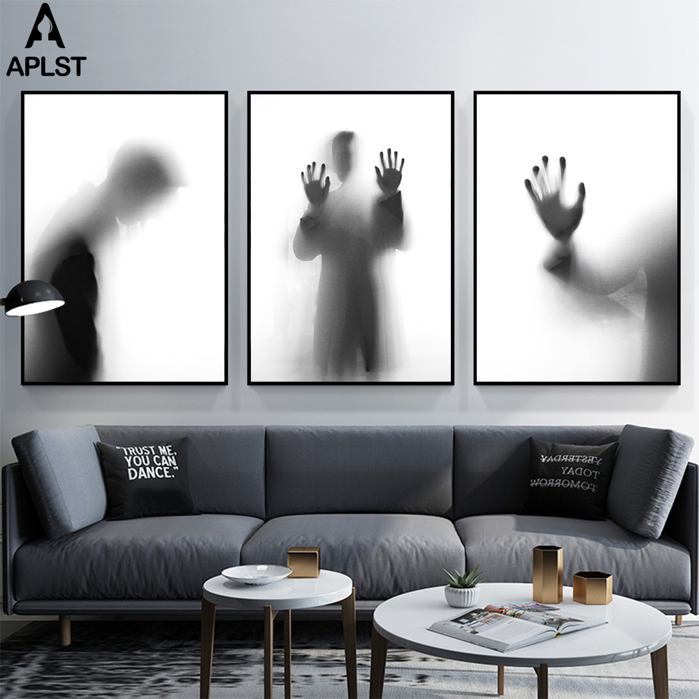 Us 2 4 57 offblack and white hazy canvas prints painting poster picture fashion sad men boy wall art home decor for living room office room in