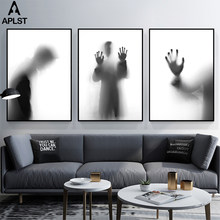 Zwart En Wit Wazige Canvas Prints Schilderen Poster Picture Mode Sad Mannen Boy Wall Art Home Decor Voor Woonkamer kantoor Kamer(China)