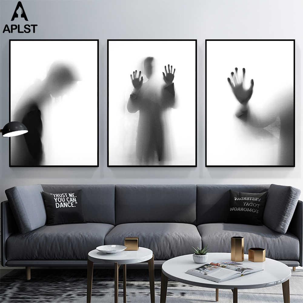 Siyah Ve Beyaz Puslu Tuval Baskilar Boyama Posteri Resim Moda
