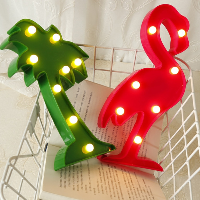 Flamingo Unicorn LED Light Baby Shower Wedding Party Home Kids DIY Decoration Star Heart Pineapple Christmas Tree 3D Desk Lamp,8 6