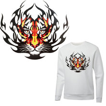 animal flame tiger patches for clothing stickers iron on transfer T-shirt hoodie diy patch thermocollants vetement parches