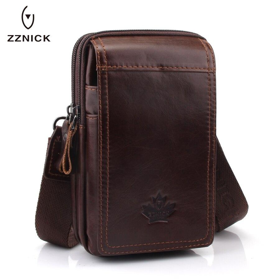 ZZNICK 2019 MEN'S Genuine Leather Belt Waist Bag Military Fanny PACK Molle Small Money Phone Waist Pack Bum Pouch Purse