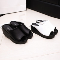 Hot Sale Women Summer Fashion Leisure Fish Mouth Sandals Thick Bottom Slippers 0329
