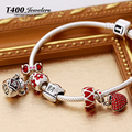 Charm bracelets! T400  DIY beads made with Swarovski Elements,loose beads fit with european style braceletst#QT024,free shipping