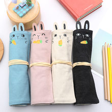 Cute Cartoon Carrot Rabbit Canvas Roll Pencil Bag Case Kawaii Cylindrical Stationery Storage Bag School Office Supply(China)