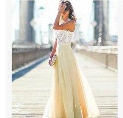 Koronkowa Sukienka szyfonowa Sukienka Party biuro Sukienka Maxi bez rękawów szata Longue Femme różowy żółty niebieski Vestidos Mujer kobiety ubrania 3