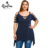 AZULINA Plus Size Rivet Tunic T Shirts Women T Shirts Summer O Neck Short Sleeves T