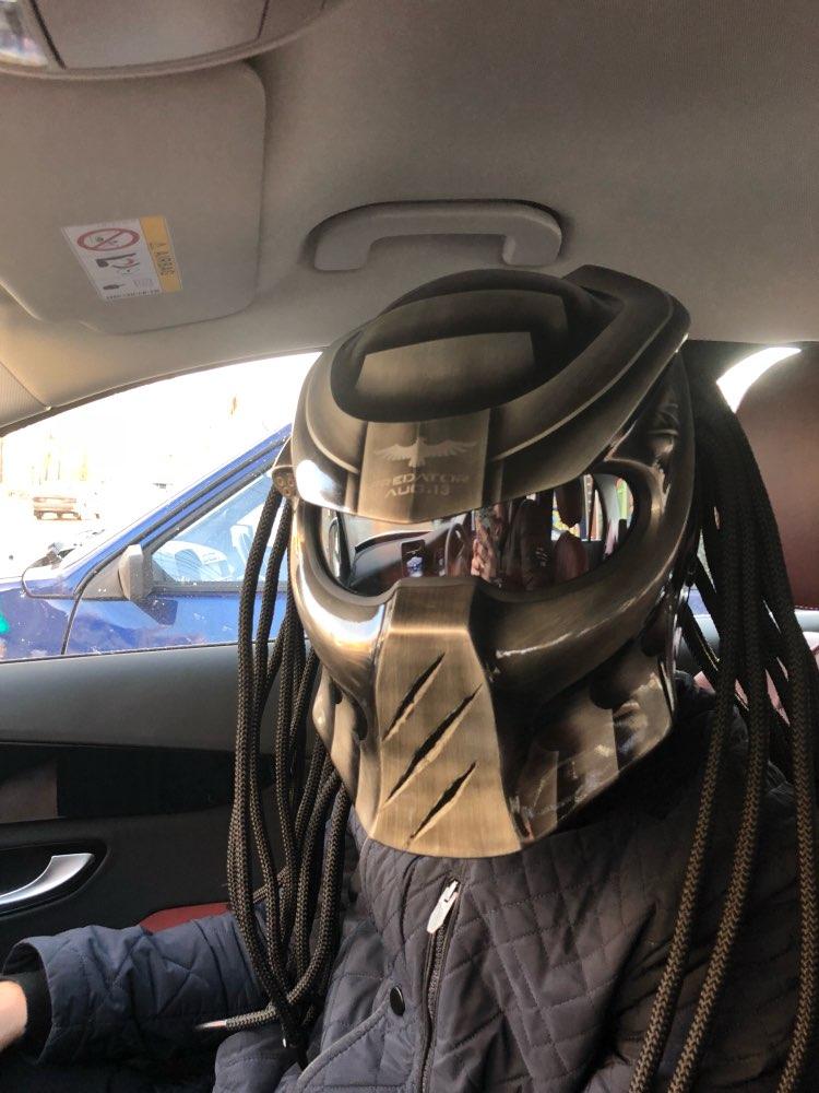 Fireyouracing Predator Carbon Fiber Motorcycle Helmet Full Face Iron Warrior Man Helmet DOT Grey by Manual Paint DIY