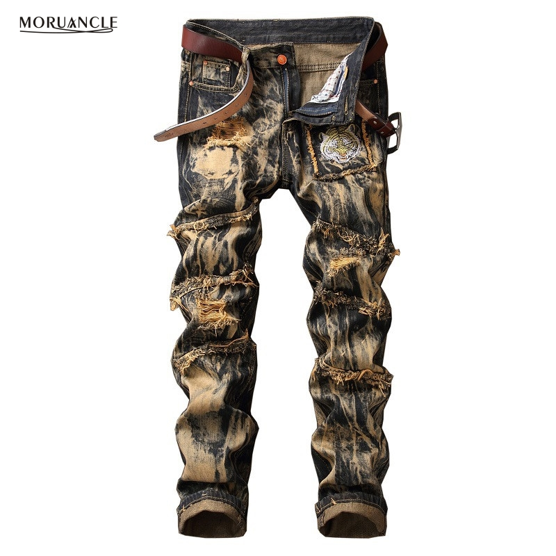 MORUANCLE Men's Vintage Ripped Jeans Joggers Retro Yellow Distressed Denim Pants Trousers Tiger Embroidered Plus Size 29-42