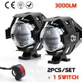 2 PCS 125 W motocicleta impermeável levou farol 3000LM CREE LED de condução nevoeiro Spot Light Head Lamp W / switch