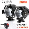 2 PCS 125W Waterproof Motorcycle LED Headlight 3000LM CREE LED Driving Fog Spot Head Light Lamp w/ switch