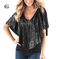 Lace Girl New 2017 Summer Women Blouses Short Sleeve V-Neck Loose Sequin Blouse Batwing Sleeve Casual Stretch Shirts Tops Blusas