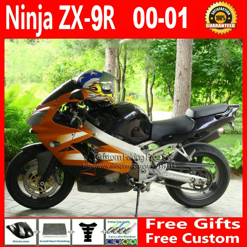 Hot sale customize orange bodykit for Kawasaki fairing kits ZX9R 2000 2001 ZX 9R 00 01 Compression mold Ninja body parts+7Gifts compression mold bodykit for kawasaki fairing kits zx9r 2000 2001 zx 9r 00 01 ninja customize green purple body parts 7gifts