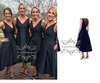 Сексуальный глубокий v образный вырез Bridemaid платья с карманами модный и классический дизайн чайная длина Hi Lo юбка