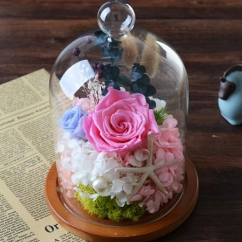1x Glass Display Cloche Bell Flower Jar Dome Immortal Preservation with Wooden Base Wedding Party Decoration Birthday Gift