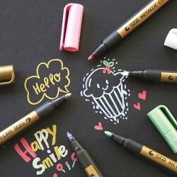 1 قطعة إبرة الرسم المعادن اللون الحرفية القلم الذهبي والفضة قلم جاف للرسم قلم تلوين