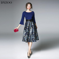 DYZOO Spring Autumn New Fashion Europe And The United States Flare Sleeve Women Dress Slim Bodycon