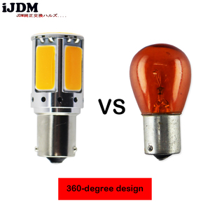 Image 3 - 2pcs No Resistor Required Amber Yellow COB LED BAU15S 7507 PY21W 1156PY LED Bulbs For Front Turn Signal Lights(No Hyper Flash)