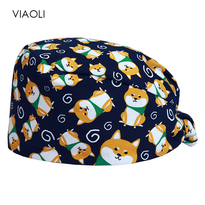 Viaoli Cotton Breathable Print Adjustable Pet Hospital Work Hats Surgical Caps Women Men Doctor Nurse Caps Beauty Pharmacy Hats