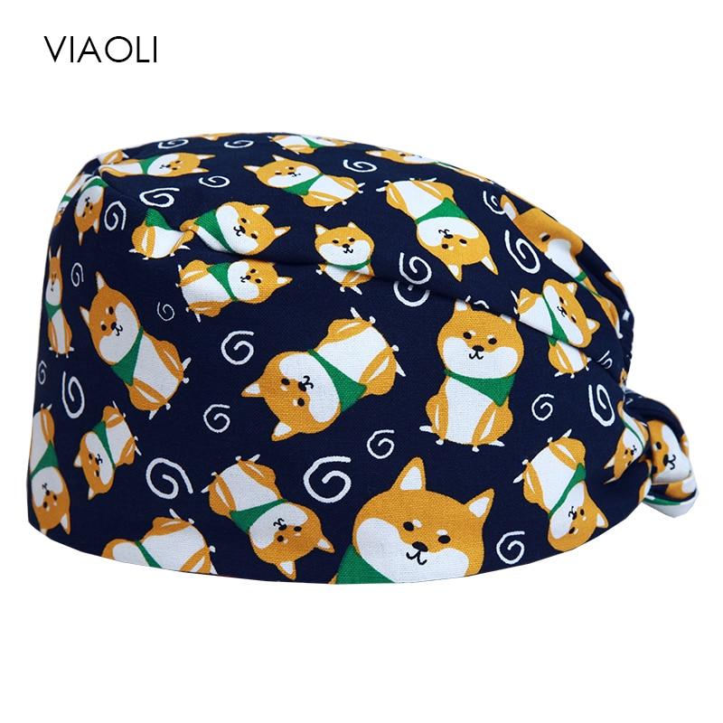 Viaoli Cotton Breathable Print Adjustable Pet Hospital Work Hats Surgical Caps Women Men Doctor Nurse Caps Beauty Pharmacy Hats