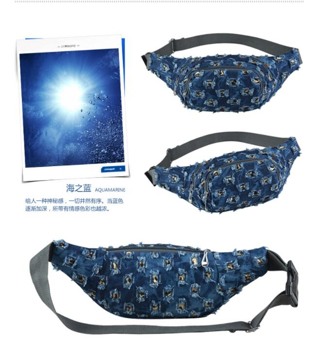 1 Piece Holes Lace Denim Waist Pack Female Fanny Pack Lady's Belt Women Travel Messenger Chest Bag