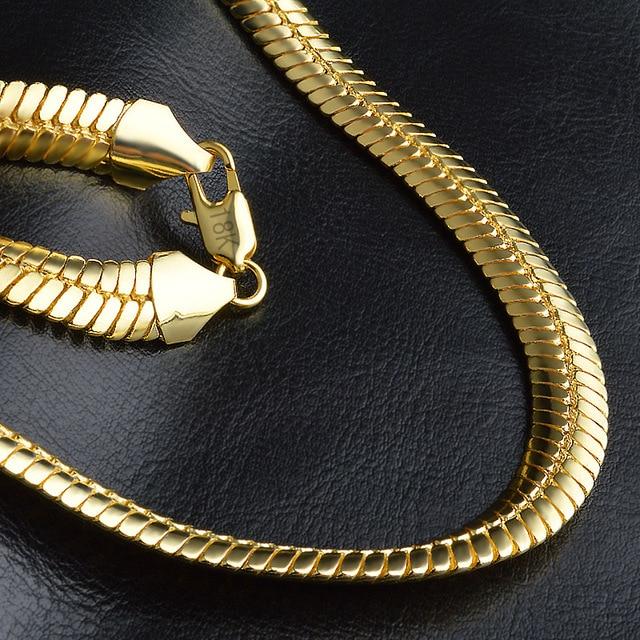 Панк Золотой цвет плоская цепочка на шею для мужчин 9 мм ширина