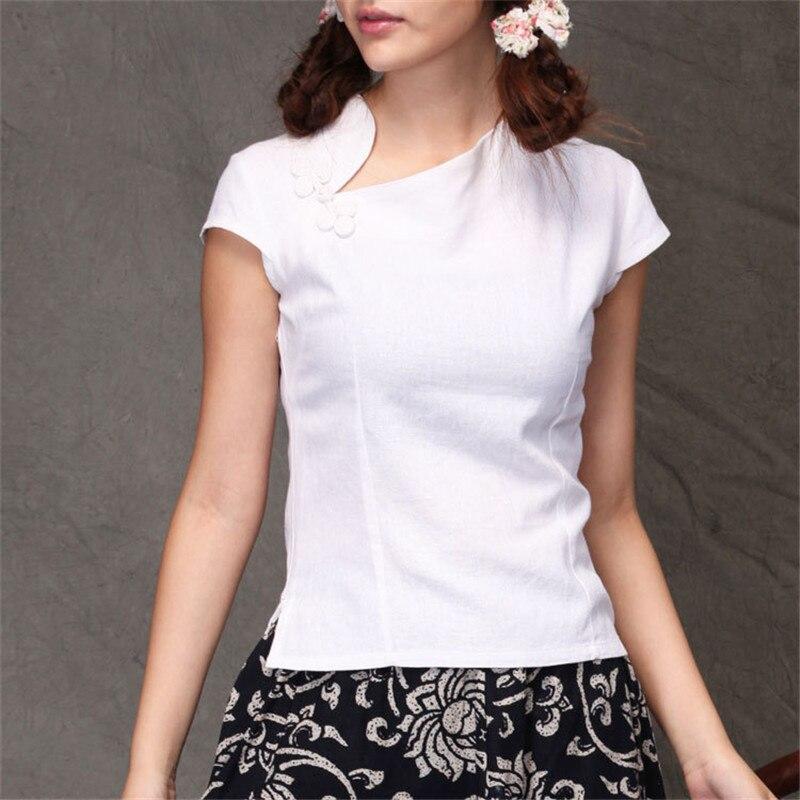 470d2e316 Traditional Chinese Women's Blouse Folk Style Cotton Linen Vintage Oblique  Lapel Shirt Tang Suit Cheongsam Tops