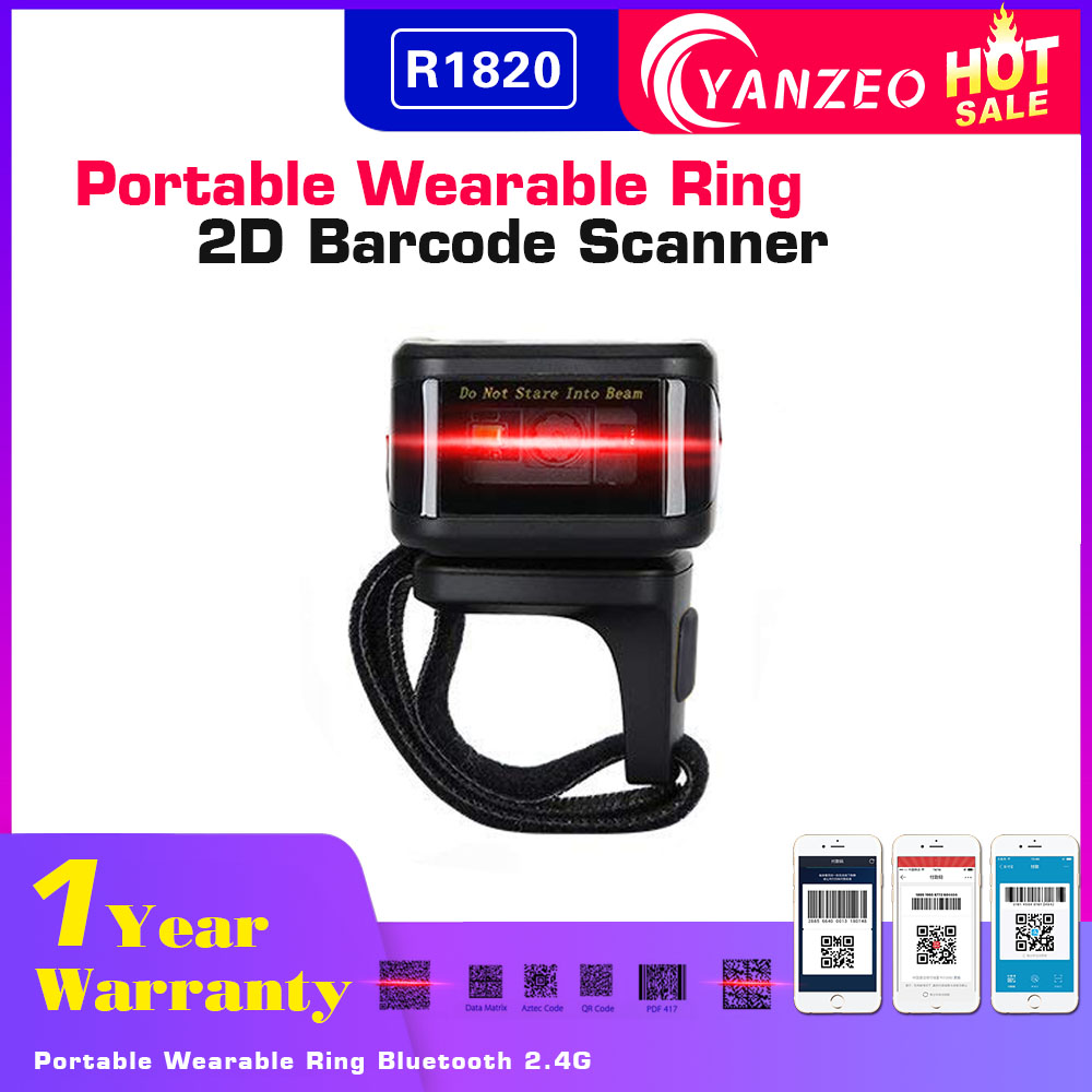 Yanzeo R1820 Portable Wireless Mini Qr Code Wearable Ring Bluetooth 2 4G 2D Barcode Scanner Finger