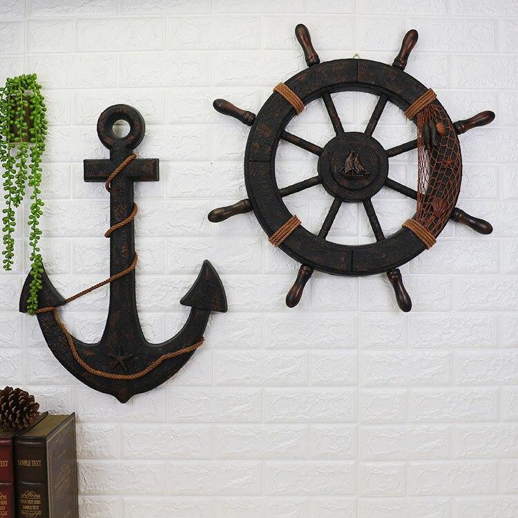 Grand 62 CM Style méditerranéen ancien bois bateau en bois navire gouvernail nautique maison mur nautique volant décor à la maison cadeaux
