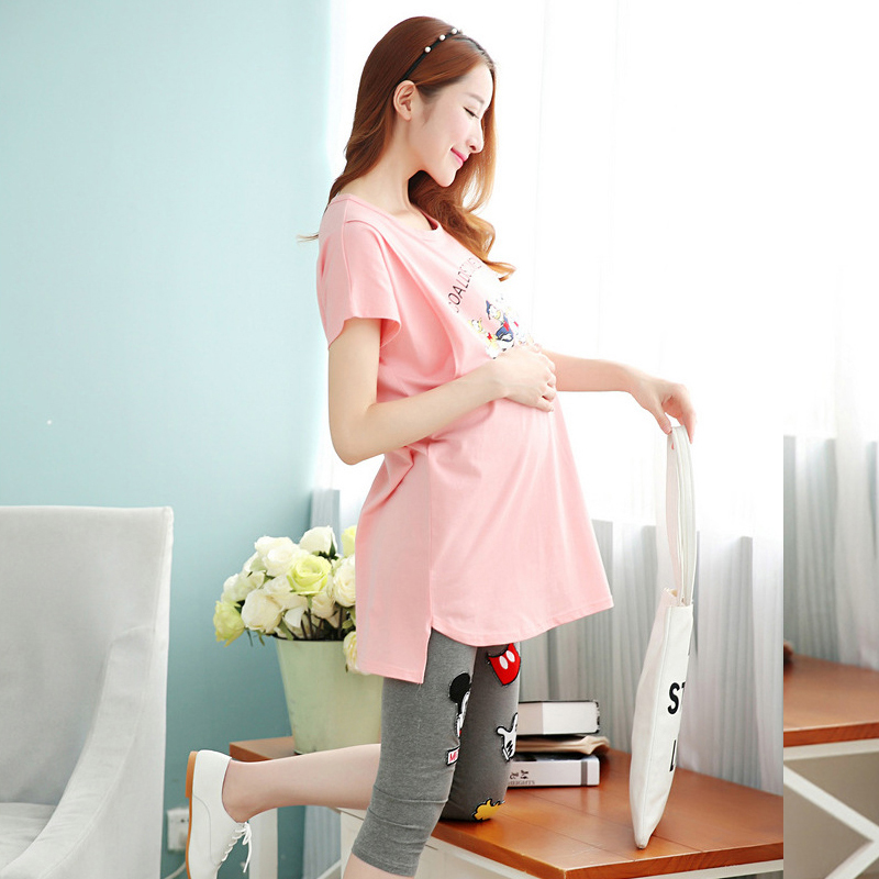 2016 summer maternity nursing pajamas cotton pregnant women nightwear cheap pregnancy breastfeeding nightgown top pants suit set