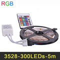 Dimmable 5m Flexible RGB LED Strip Light With Remote Controller 12V LED Tape Lamp SMD3528 16 Colors Changeable Home Dacoration