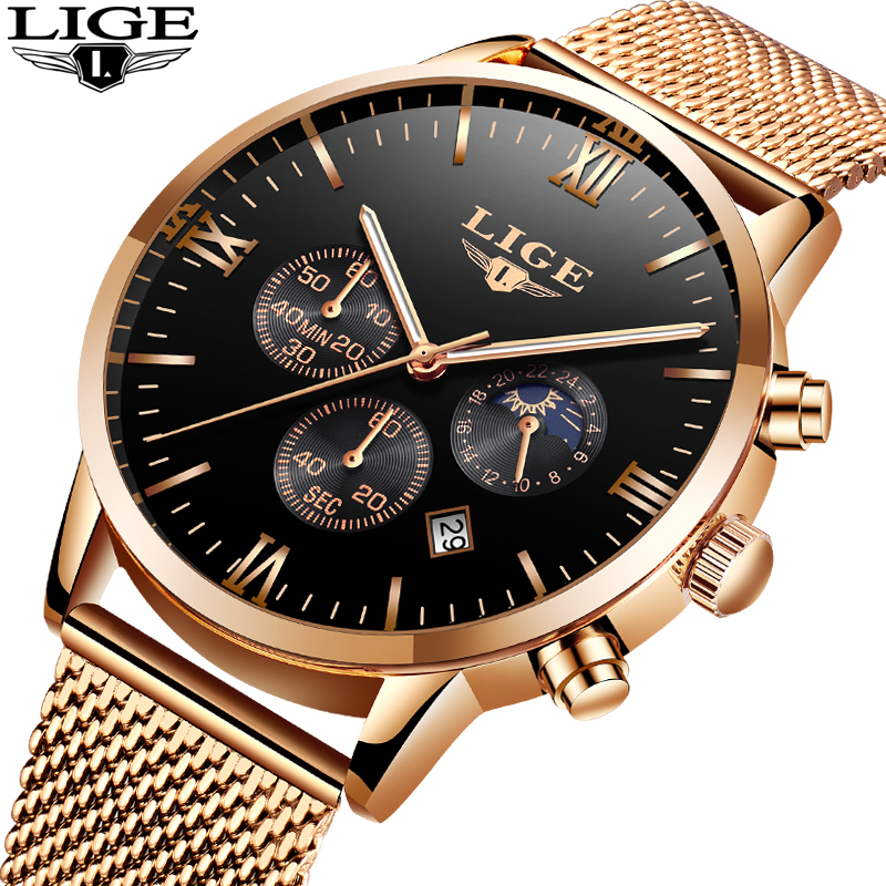 Relogio Masculino Mens Watches Top Brand LIGE Luxury Business Quartz Watch Men Steel Mesh Strap Casual Waterproof Sport Watch