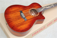 Factory Custom 41'' cutaway Acoustic Guitar with solid Mahogany top can add Fishman pickup EQ