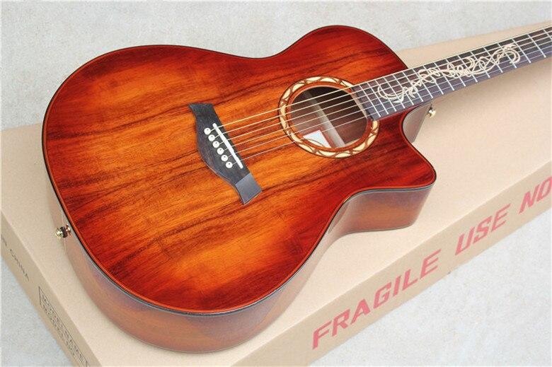 Usine Personnalisé 41 ''acoustique pan coupé Guitare avec solide Acajou top peut ajouter Fishman ramassage EQ