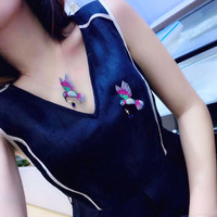 Qi Xuan_Brooch jewelry_New Брошь Колибри умная птица брошь Pin S925 стерлингового серебра личности милые