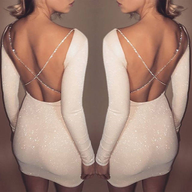 2018 Autumn Sexy Women's Bodycon Backless Party Cocktail Slim Short Mini Dress Fashion Long Sleeve Sheath White Mini Dresses 13