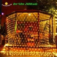 DHL Бесплатная 8 м x 10 м 2600 светодиодов 220 В супер яркий сетка Рождество Строка Xmas свет садовый Свадьба Праздник лампы освещения