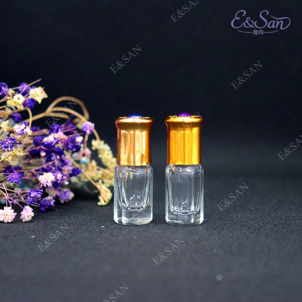 Venta al por mayor de 3 ml de rollo octogonal en botella de cristal de Perfume Min embotellado 100 unids/lote-in Botellas rellenables from Belleza y salud    2