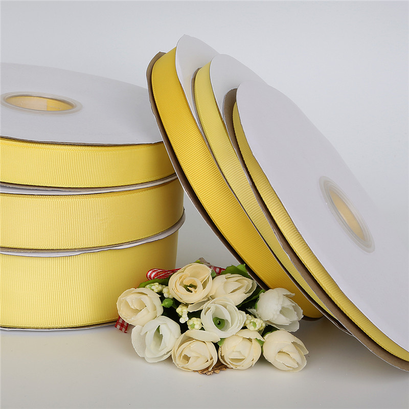 7-25mm 5yards Yellow Gift Packing Grosgrain Ribbon for Wedding Party Decoration DIY Handmade Crafts Garment Materials