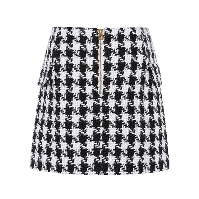 HIGH STREET New Fashion 2020 Runway Designer Skirt Women's Lion Buttons Double Breasted Tweed Wool Houndstooth Mini Skirt