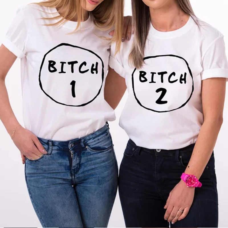 1b85562d6 Detail Feedback Questions about Bitch 1 Bitch 2 best Friends T Shirt Women  girl short sleeve crewneck Bff Sister t shirts tumblr Graphic tees shirts  Cotton ...